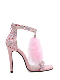 Faux Fur Colorful Beads Stiletto Heel Sandals - Pink 37