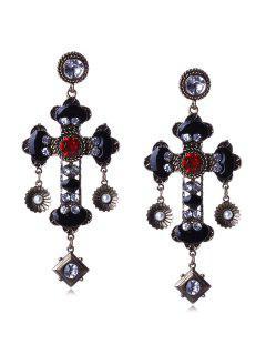 Pair Of Rhinestone Cross Earrings - Black
