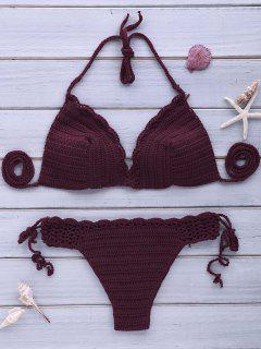 Sexy Halterneck Purple Crochet Bikini Set For Women - Purple