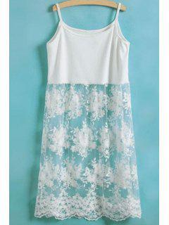 Lace Spliced Spaghetti Straps Dress - White