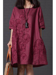 Smock Oversized V Back Dress - Wine Red 2xl