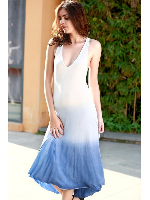 lady Blue Ombre Color Plunging Neck Sleeveless Sundress - BLUE S Mobile