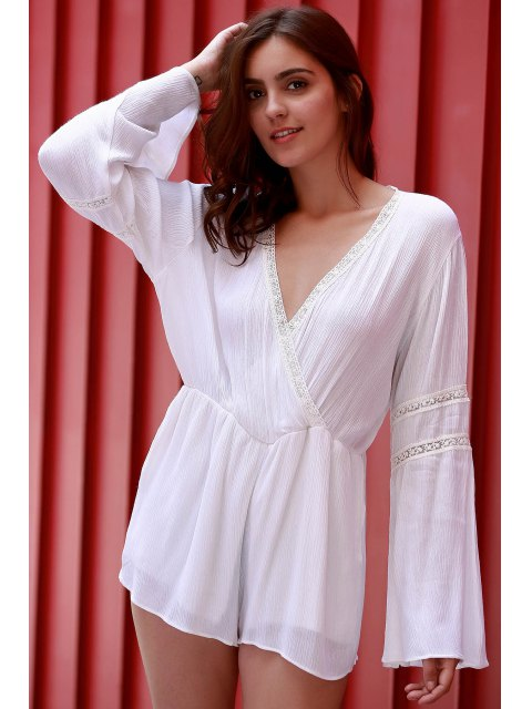 latest White Plunging Neck Flare Sleeve Romper - WHITE L Mobile