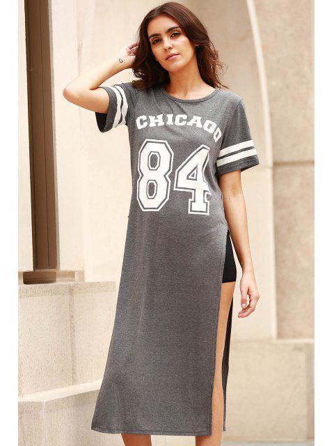 trendy High Slit Round Neck Short Sleeve Letter Print Dress - GRAY XL Mobile