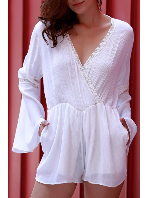 shops White Plunging Neck Flare Sleeve Romper - WHITE M Mobile