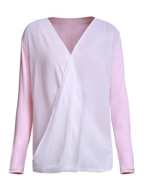 Cross-Over-Kragen drapierten Bluse - Pink XL  Mobile