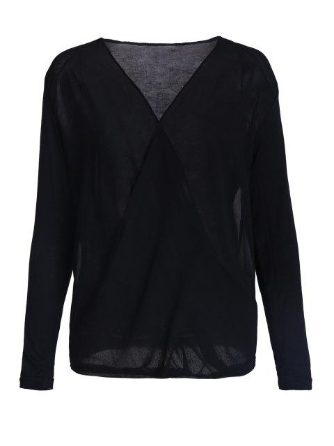 Cross-Over Cuello drapeado de la blusa - Negro S Mobile
