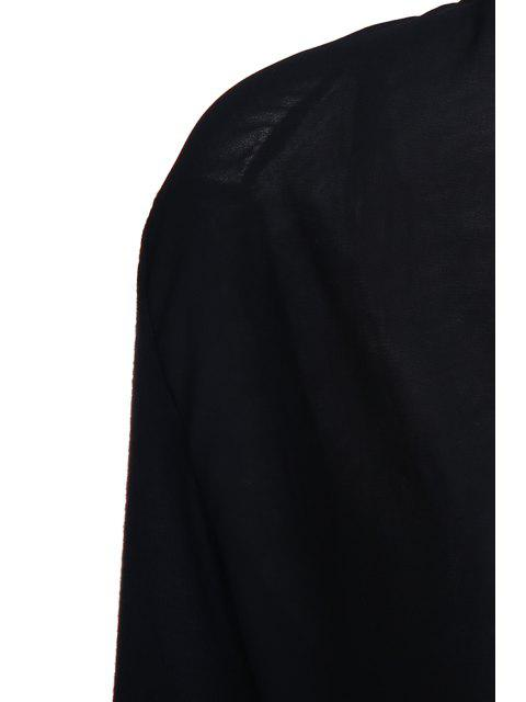 affordable Cross-Over Collar Draped Blouse - BLACK S Mobile