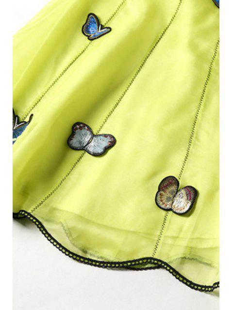 Papillon broderie stand cou Robe sans manches - Jaune S Mobile