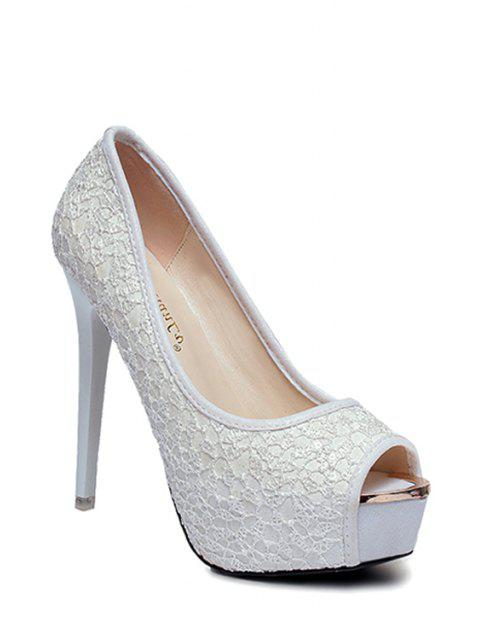 affordable Lace Platform Stiletto Heel Peep Toe Shoes -   Mobile