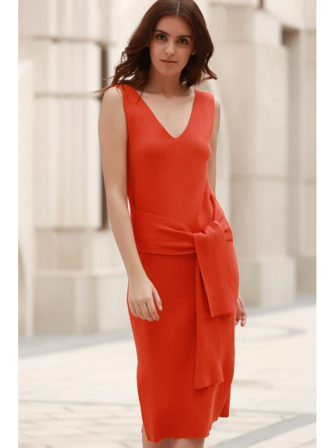 sale Solid Color V-Neck Sleeveless Lace Up Sweater Dress - LATERITE S Mobile