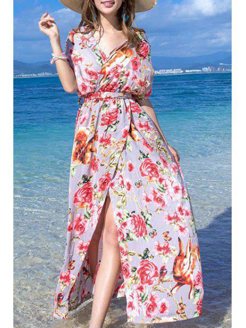 shops Floral Print High Slit Halter Sleeveless Dress - RED S Mobile