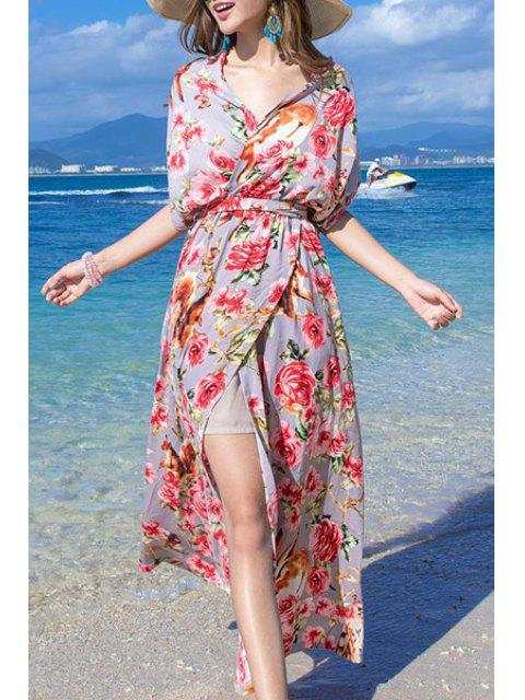 latest Floral Print High Slit Halter Sleeveless Dress - RED M Mobile