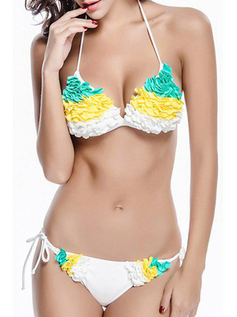buy Stereo Flower Color Block Halter Bikini Set - WHITE M Mobile