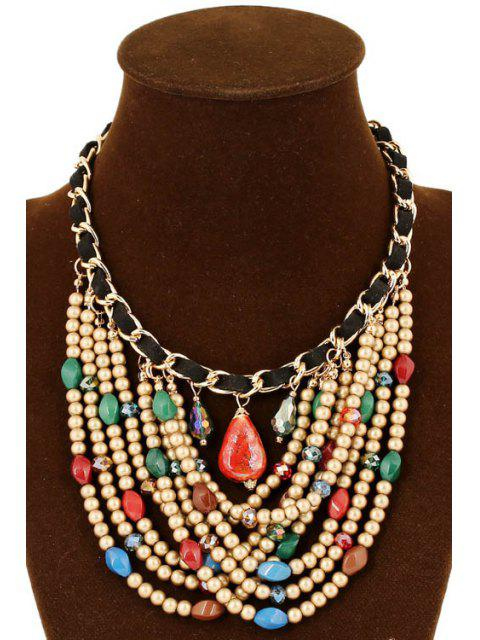 affordable Stylish Multi-Layered Bead Necklace - COLORMIX  Mobile