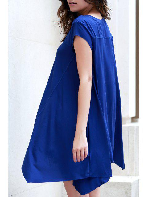 new Irregular Hem Tunic Dress - BLUE XL Mobile