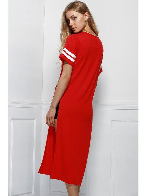 best High Slit Round Neck Short Sleeve Letter Print Dress - RED 2XL Mobile