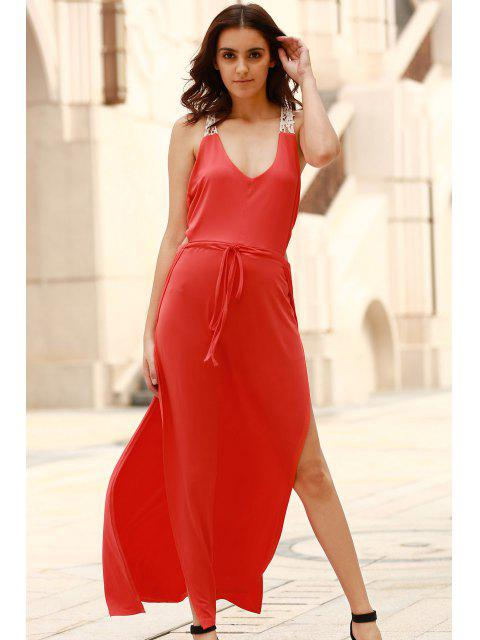online Cut Out Scoop Neck Lace Spliced Maxi Dress - RED M Mobile