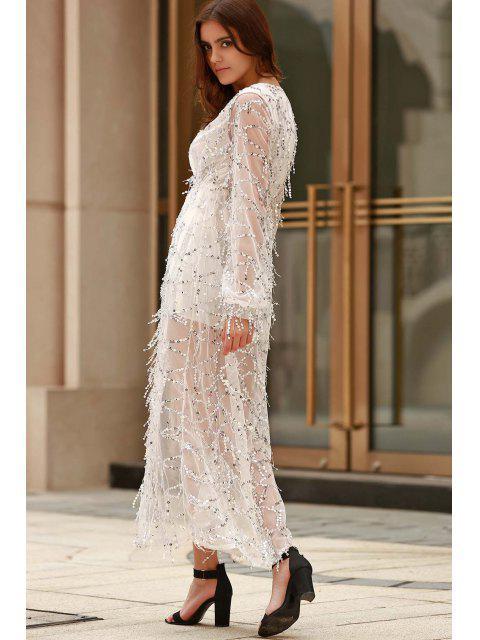 online High Slit Plunging Neck Long Sleeve Sequins Dress - WHITE XL Mobile