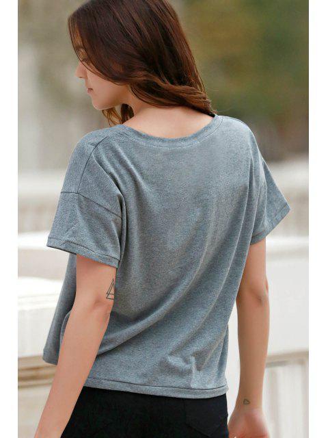 ladies Letter Print Short Sleeve Round Neck T-Shirt - GRAY M Mobile