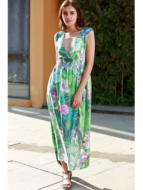 affordable Floral Print Plunging Neck Sleeveless Maxi Dress - GREEN L Mobile