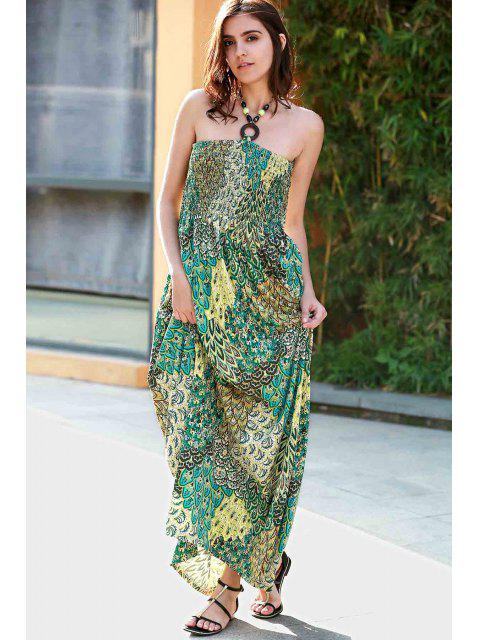 buy Printed Halter Strapless Maxi Dress - GREEN S Mobile