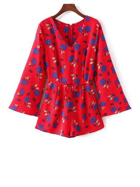 Long Sleeve Drawstring design Playsuit - Rouge M Mobile