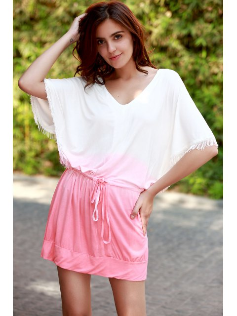 outfit Ombre Color V Neck Half Sleeve Dress - PINK M Mobile