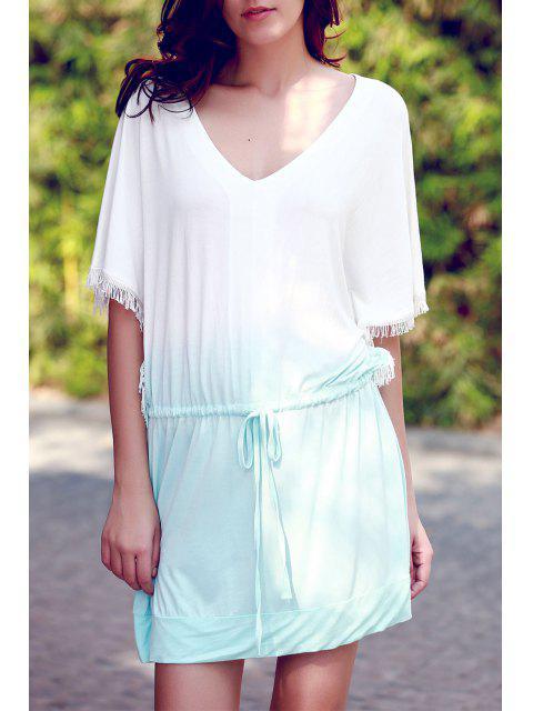 new Ombre Color V Neck Half Sleeve Dress - GREEN XL Mobile