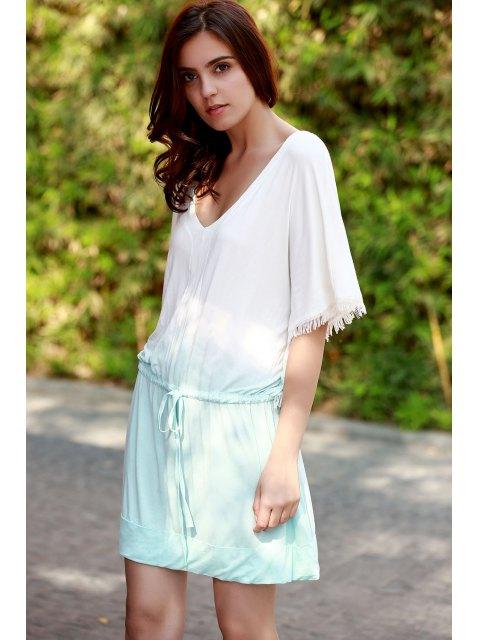 best Ombre Color V Neck Half Sleeve Dress - GREEN M Mobile