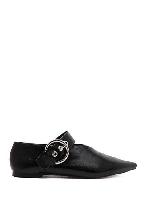 lady V-Shape Buckle Black Flat Shoes -   Mobile