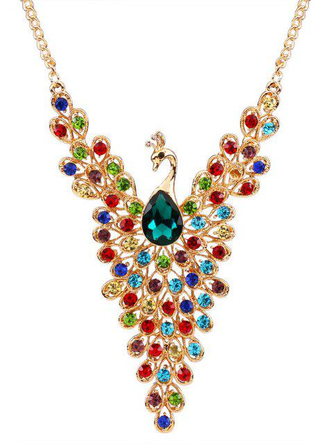 latest Rhinestoned Peacock Necklace - COLORMIX  Mobile