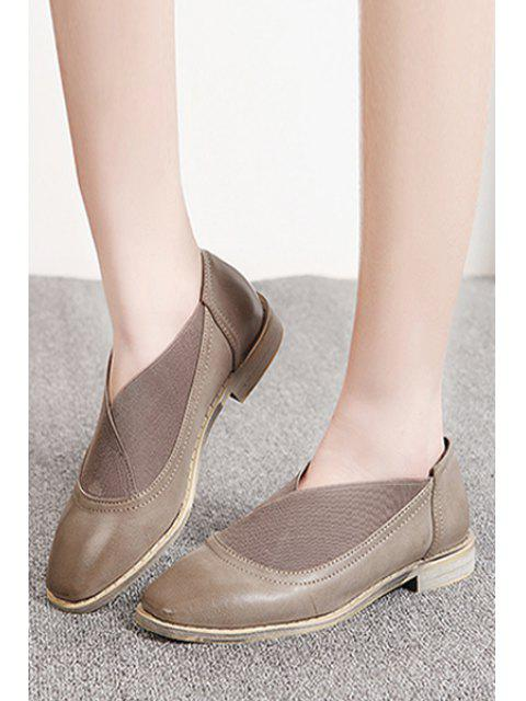 fancy Elastic Band Square Toe Flat Shoes -   Mobile