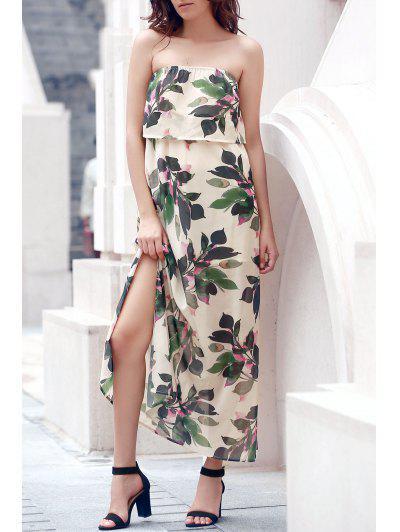 فستان هاواي بلا حمالة طباعة الورقة متدفق ماكسي - أبيض فاتح Xl