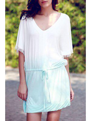 Ombre Color V Neck Half Sleeve Dress - Green Xl