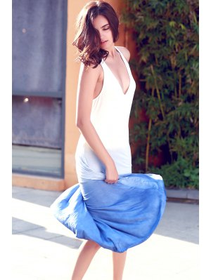 Blue Ombre Color Plunging Neck Sleeveless Sundress - Blue Xl