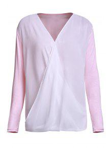 Cross-Over Collar Draped Blouse - Pink Xl