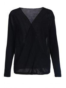 Cross-Over Collar Draped Blouse - Black S