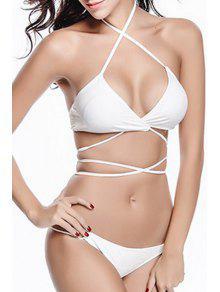 Solid Color Halter Bikini Set - White M