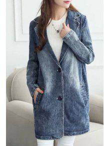 Pocket Design Bleach Wash Denim Coat