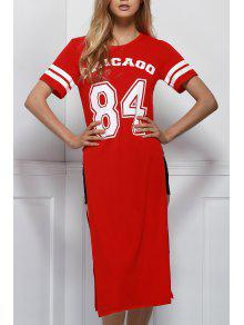 High Slit Round Neck Short Sleeve Letter Print Dress - Red 2xl