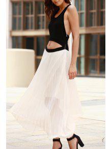 فستان قطع أسلوبين ماكسي - أبيض وأسود S