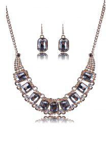 Faux Crystal Rectangle Necklace And Earrings - Golden