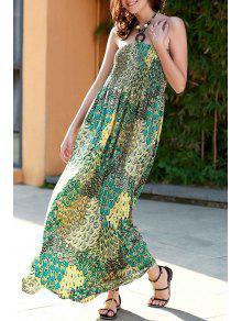 Impresión Verde Cabestro Vestido De Maxi - Verde S