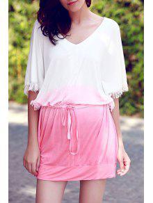 Ombre Color V Neck Half Sleeve Dress - Pink L