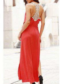 فستان ماكسي كهنوتي دانتيل سكوب الرقبة ذو فتحات - أحمر L