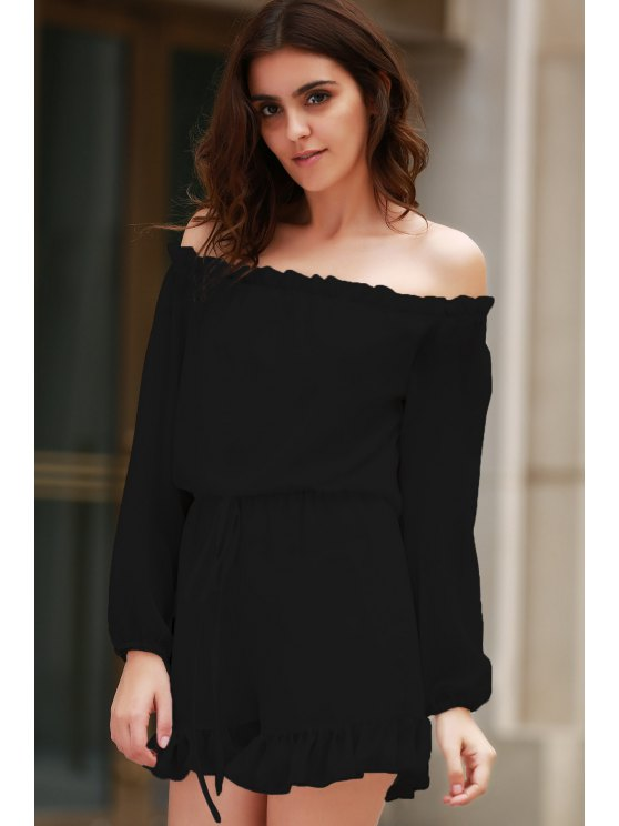 fancy Solid Color Off The Shoulder Long Sleeve Romper - BLACK M