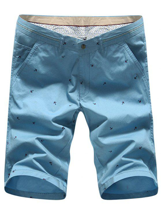 outfits Fashion Straight Leg Anchor Embroidered Slimming Zipper Fly Shorts For Men - BLUE 35