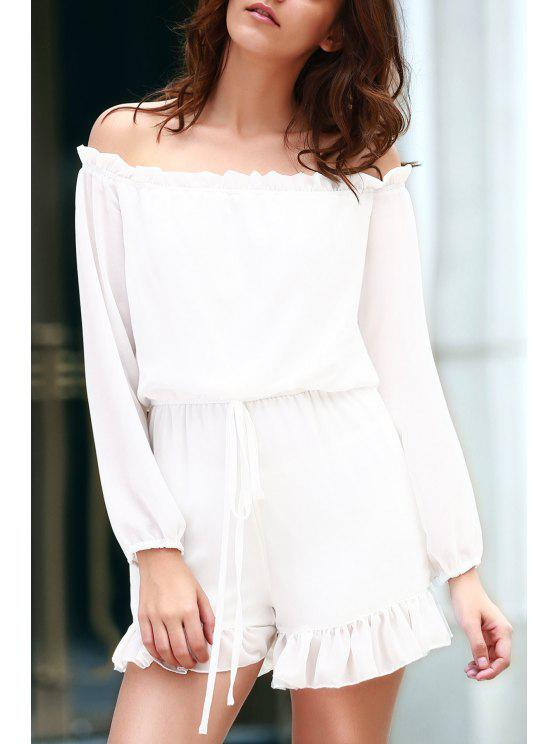 ladies Solid Color Off The Shoulder Long Sleeve Romper - WHITE XL