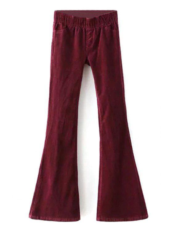 Pleuche Stretchy Taille Basse Large Pantalon Jambe - Rouge vineux  L